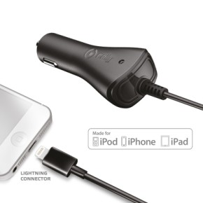 Auto punjač lightning, 1A, Apple iPhone 5, iPhone 6, iPhone 7, MFI, CELLY