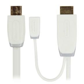 MHL kabel, HDMI muški sa Micro USB 2.0 ženski na USB Micro B muški, 1 m, bijeli, Bandridge BBM39010W10