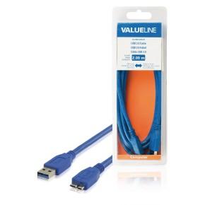 USB 3.0 kabel, USB A muški na USB Micro B muški, 2 m, plavi, Value Line VLCB61500L20