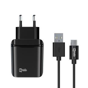 Kućni, zidni punjač za mobitel sa USB-C kabelom, 3A, crni, BeHello Quick Charge