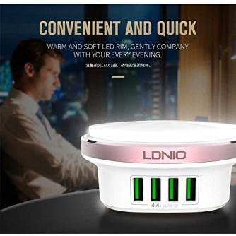 Desktop USB punjač, hub, sa 4 porta i LED svjetlom 5V/4.4A/22W LDNIO A4406