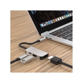 USB-C adapter NEON Hub 4K, USB Type-C na USB 3.0, HDMI i USB Type-C s mogućnošću punjenja do 87W