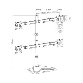 "Stolni nosač za 4 monitora od 13"" do 32"" SBOX LCD-F048"