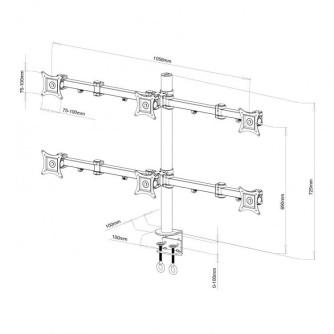 "Stolni nosač za 6 monitora od 13"" do 24"" SBOX LCD-352/6"