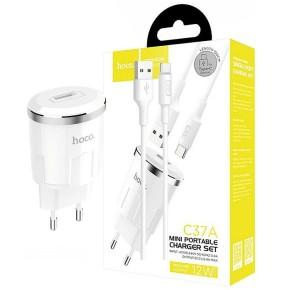 Kućni, zidni punjač za mobitel sa USB-C kabelom, 2.4A, bijeli, HOCCO