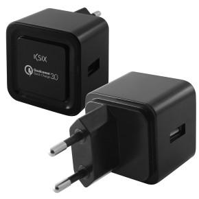 KSIX, putni punjač USB, QuickCharge, 3.0 5V 2.4A, 9V 2A, 12V 1.5A, crni