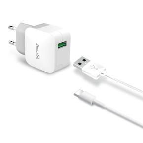 Kućni, zidni punjač za mobitel sa USB-C kabelom, 2.4A, bijeli, CELLY