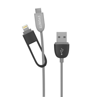 Lightning i Micro USB kabel, 1,2 m, crni, Cygnett