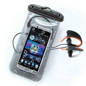 "Vodootporna torbica za mobitele do 5"" sa slušalicama, crna KSIX"