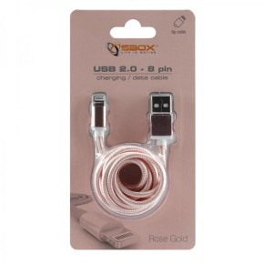 Kabel USB na lightning, Apple iPhone 7, 1,5 m, blister, zlatno-roza, SBOX